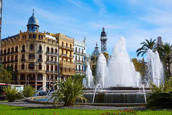 Valencia vierkante gebouwen Spanje straat kunst Stockfoto © lunamarina