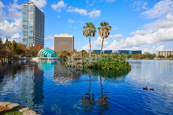 Orlando sziluett tó Florida USA pálmafák Stock fotó © lunamarina