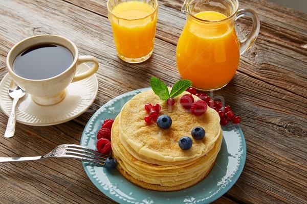 Krep kahvaltı şurup kahve portakal suyu kahve Stok fotoğraf © lunamarina