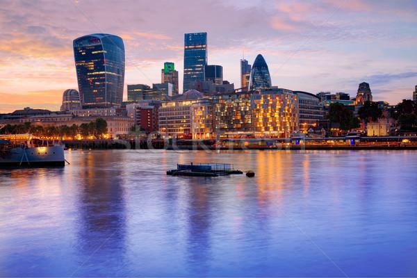 Foto d'archivio: Londra · skyline · tramonto · piazza · città