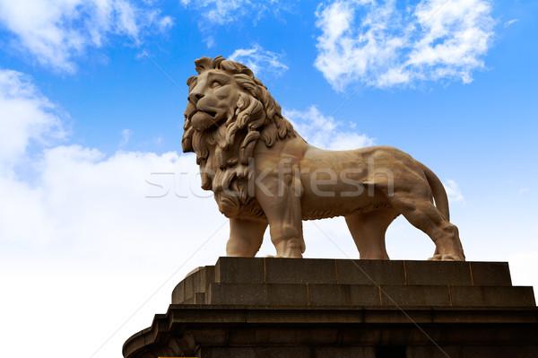 London south Bank Lion statue near Thames Stock photo © lunamarina