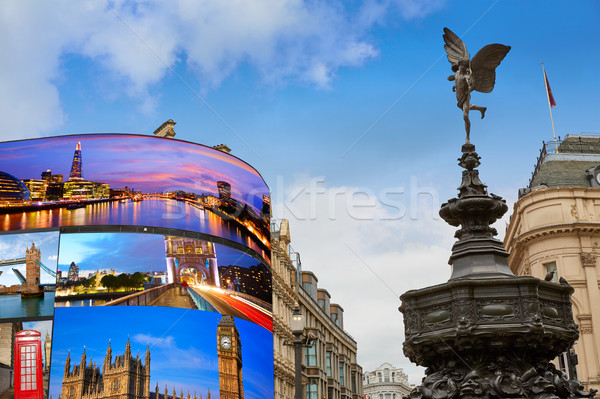 Piccadilly Circus London digital photomount Stock photo © lunamarina