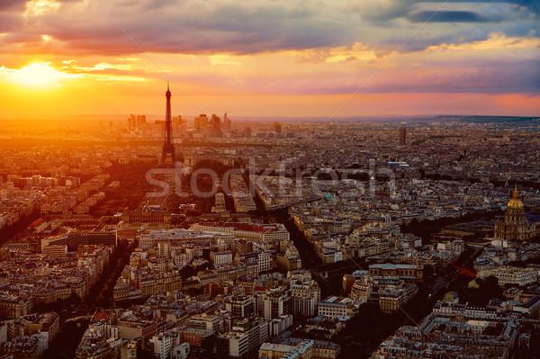 Eiffel-torony Párizs légi naplemente Franciaország égbolt Stock fotó © lunamarina