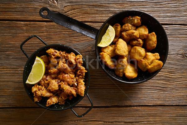Tapas balık restoran tablo bağbozumu Stok fotoğraf © lunamarina