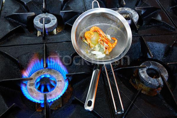 Cucina fuoco frutti di mare texture alimentare ristorante Foto d'archivio © lunamarina