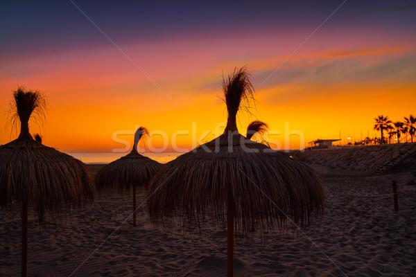 Tengerpart Valencia víz naplemente tájkép nyár Stock fotó © lunamarina