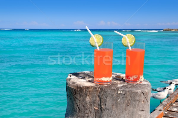 beach orange cocktail in Caribbean turquoise sea Stock photo © lunamarina