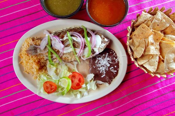mojarra garlic mojo tilapia fish Mexico chili sauce Stock photo © lunamarina