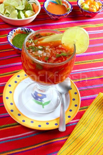 cocktail of shrimps mexican chili sauces lemon Stock photo © lunamarina