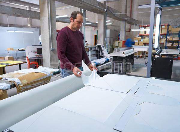 átutalás gép textil divat nyomtatott gyártás Stock fotó © lunamarina