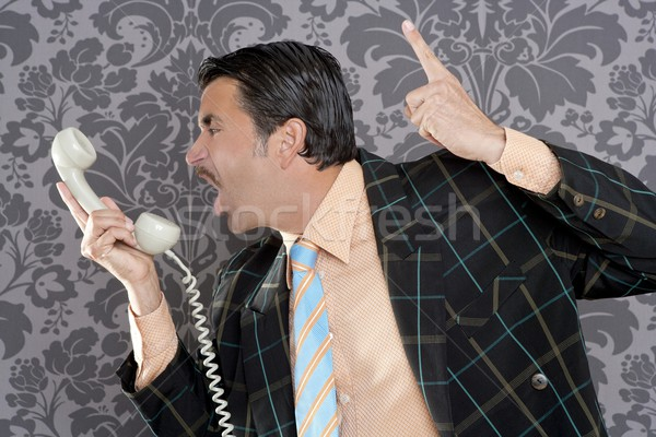 Mérges stréber üzletember retro telefon hívás Stock fotó © lunamarina