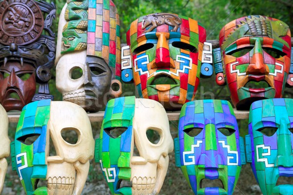 Colorful Mayan masks indian culture in Jungle Stock photo © lunamarina
