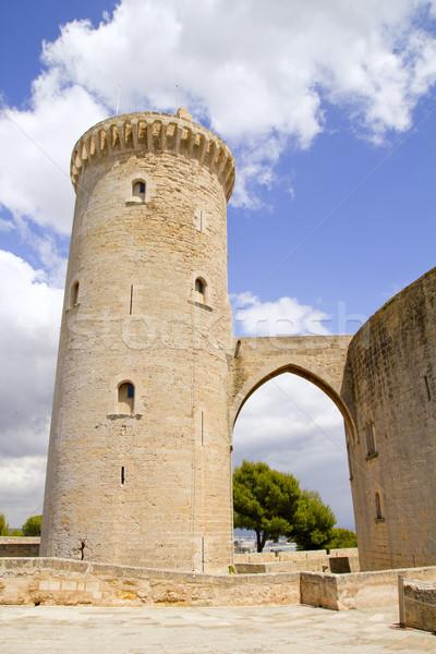 Burg Turm Bau Brücke Architektur Stock foto © lunamarina