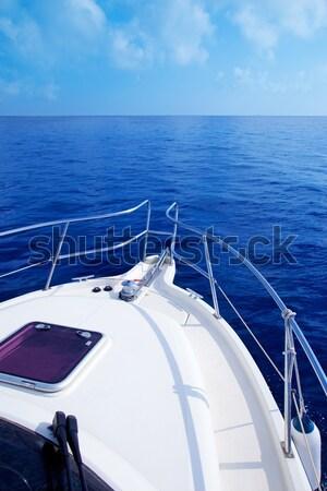 Stock photo: Boat bow open porthole sailing blue calm sea