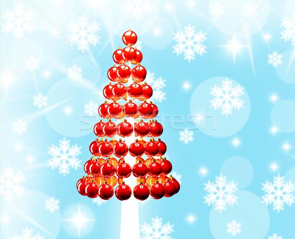 Christmas tree glossy red baubles 3d render Stock photo © lunamarina