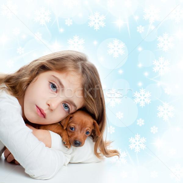 Christmas dzieci dziewczyna przytulić szczeniak brązowy pies Zdjęcia stock © lunamarina