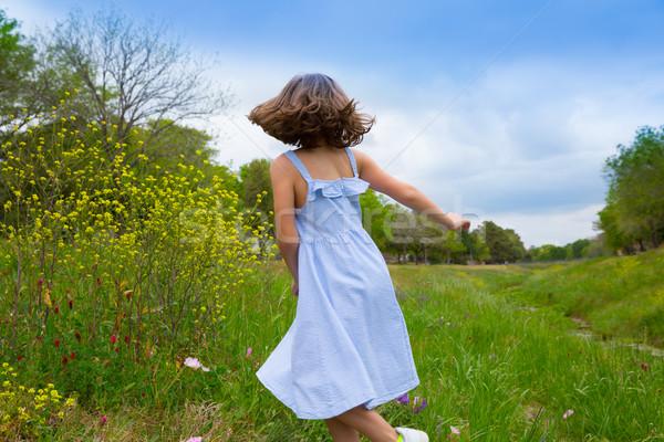 Stockfoto: Gelukkig · kinderen · meisje · springen · voorjaar · poppy