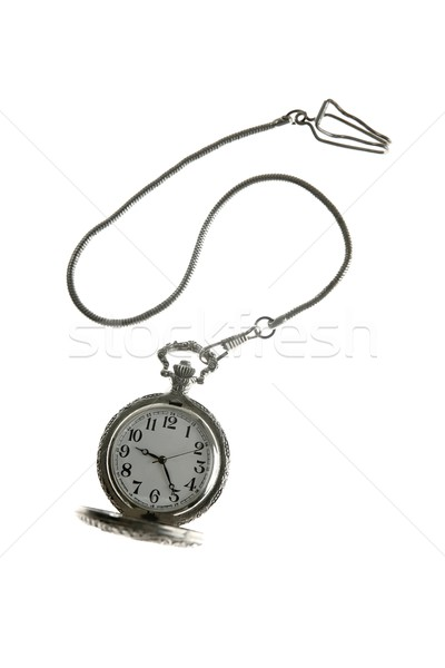 Foto stock: Velho · prata · relógio · de · bolso · relógio · cadeia · isolado