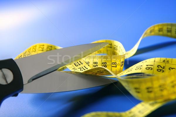 黄色 センチ テープ はさみ 背景 ストックフォト © lunamarina