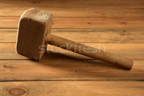 Kopott fa kalapács klasszikus munkás szerszámok Stock fotó © lunamarina