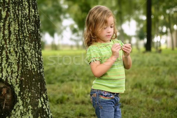 Foto d'archivio: Piccolo · ragazza · giocare · parco · foglia · verde