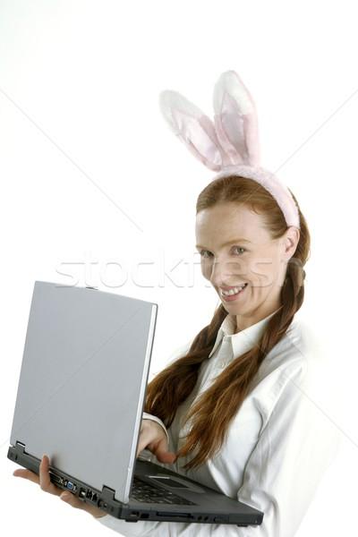 бизнеса ноутбука женщину юмор кролик ушки Сток-фото © lunamarina