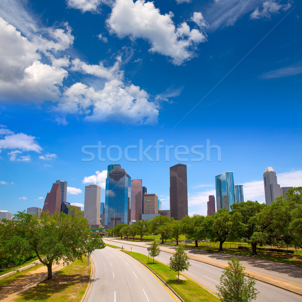 Houston Texas skyline moderne blauwe hemel Stockfoto © lunamarina