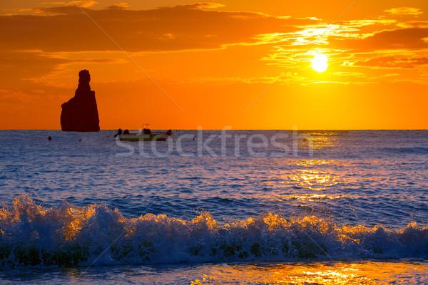Ibiza Cala Benirras sunset beach in san Juan at Balearic Stock photo © lunamarina