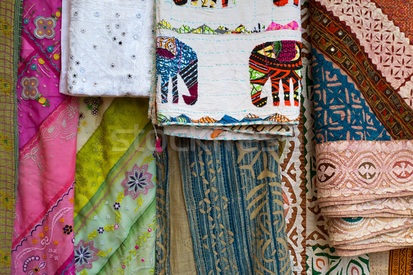Asian Indian traditional fabric in different colors Stock photo © lunamarina