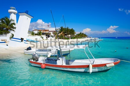 Kid girl in boat at formentera Estany des Peix Stock photo © lunamarina
