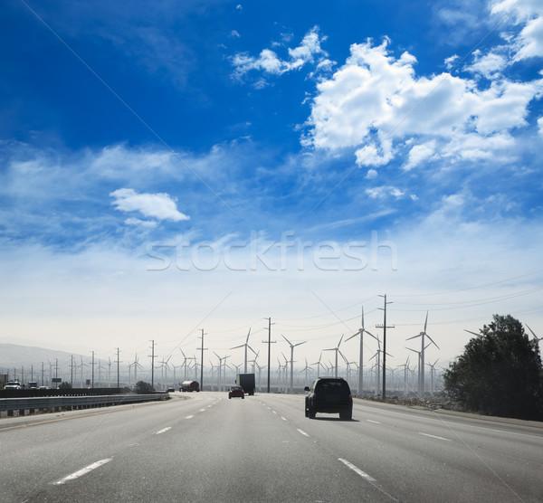 Kaliforniya yol elektrik gökyüzü manzara araba Stok fotoğraf © lunamarina