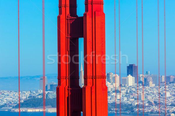 San Francisco Golden Gate Bridge câbles Californie vue USA Photo stock © lunamarina