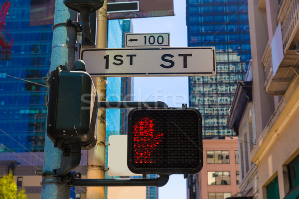 San Francisco downtown redlight on 1st street in California Stock photo © lunamarina