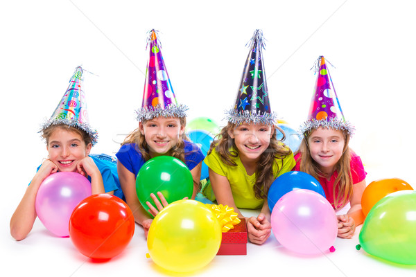 Happy kid girls birthday party balloons and gift Stock photo © lunamarina