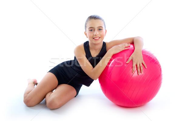 Fitness pelota nino nina ejercicio entrenamiento Foto stock © lunamarina