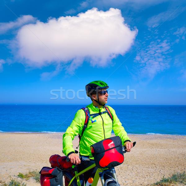 Fietsen toeristische fietser middellandse zee strand hemel Stockfoto © lunamarina