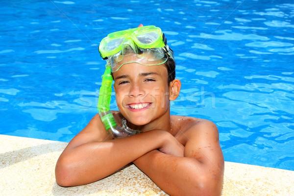Menino feliz adolescente férias natação piscina Foto stock © lunamarina