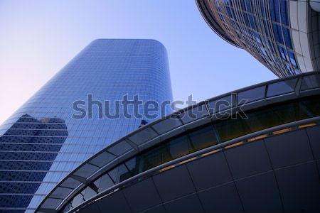 Stock fotó: Kék · tükör · üveg · homlokzat · felhőkarcoló · épületek