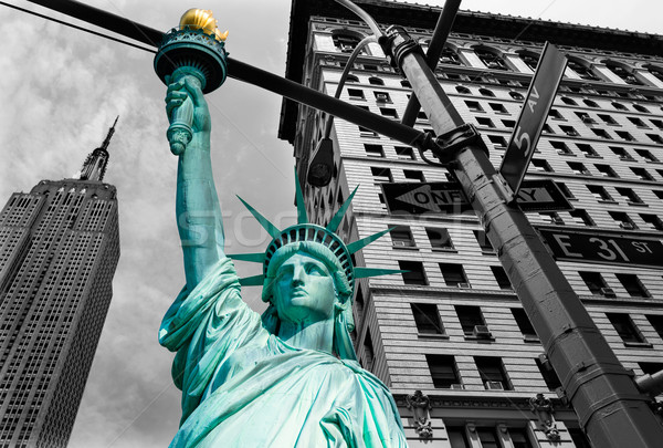 Liberty Statue and Empire State New York Stock photo © lunamarina