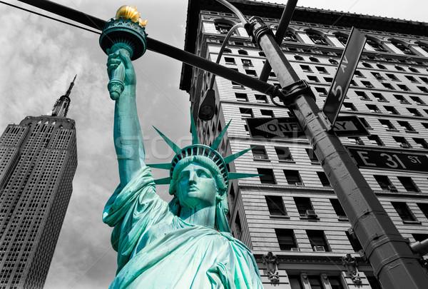 Stok fotoğraf: özgürlük · heykel · New · York · Empire · State · Binası · amerikan · semboller