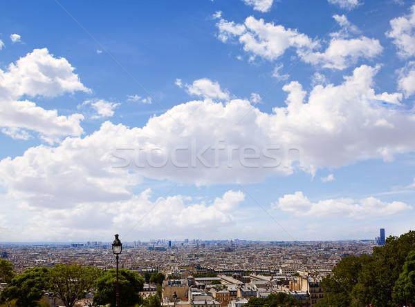 Paris ufuk çizgisi montmartre Fransa gökyüzü Stok fotoğraf © lunamarina