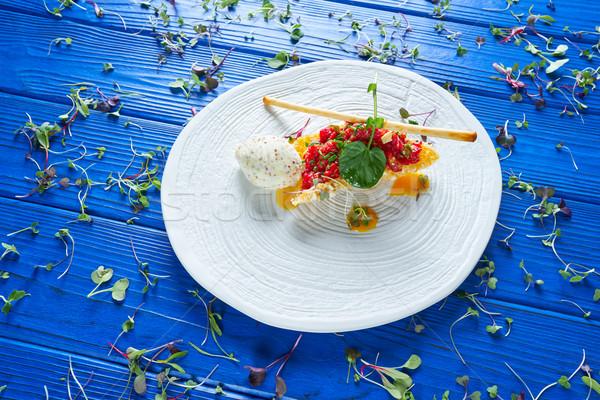 ステーキ マスタード アイスクリーム エアバッグ 木材 背景 ストックフォト © lunamarina