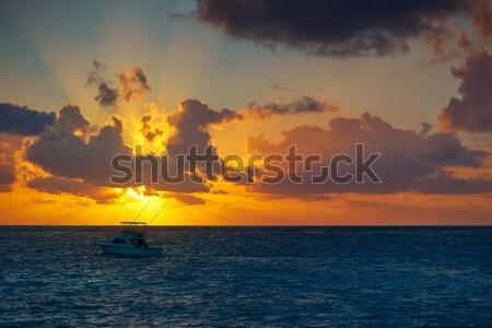 Восход пляж Мексика воды облака свет Сток-фото © lunamarina