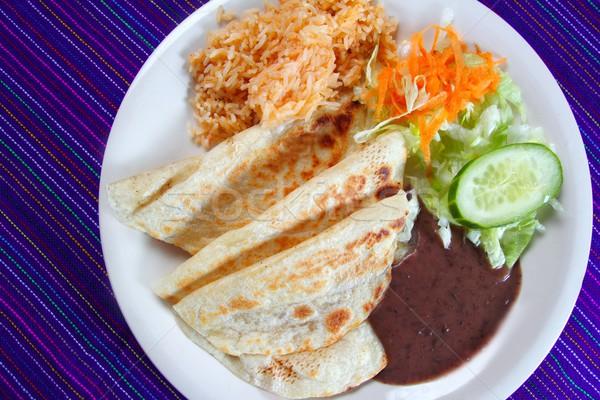 Ryżu Sałatka sos meksykańskie jedzenie niebieski żywności Zdjęcia stock © lunamarina