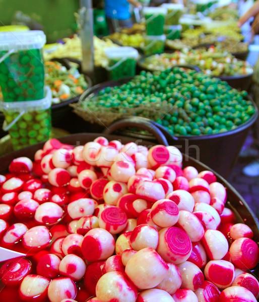 Soğan sirke zeytin salatalık turşusu doku gıda Stok fotoğraf © lunamarina