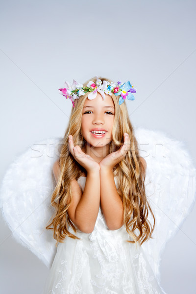 Stok fotoğraf: Melek · çocuklar · kız · açmak · eller · jest