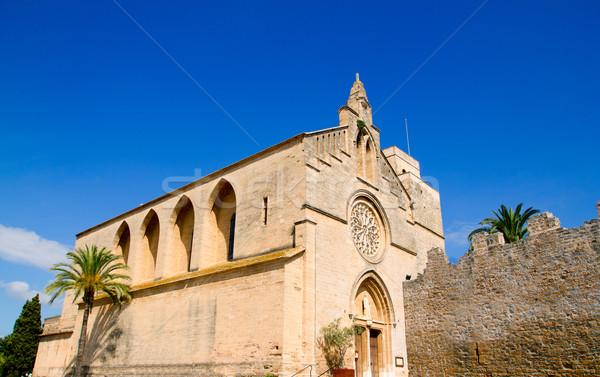 Alcudia Sant Jaume church near roman castle wall Mallorca Stock photo © lunamarina