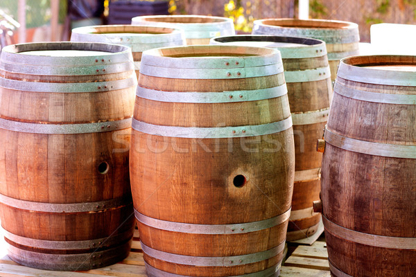 barrels of oak wood for wine or liquor Stock photo © lunamarina