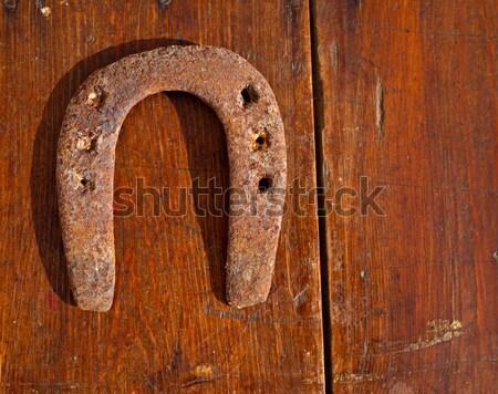 Antiken Hufeisen Glück Symbol verrostet Jahrgang Stock foto © lunamarina
