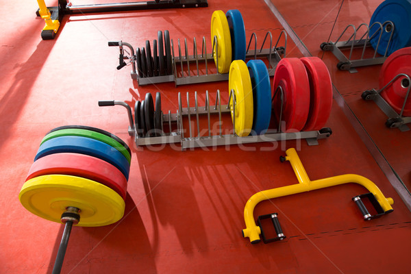 Crossfit fitness gym weight lifting bar equipment Stock photo © lunamarina